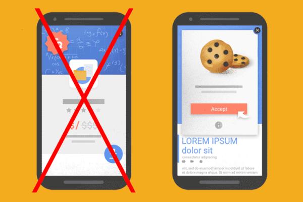 Popup e banner vietati da Google